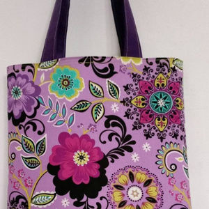 Purple & Green Molly Dinkin Floral Tote